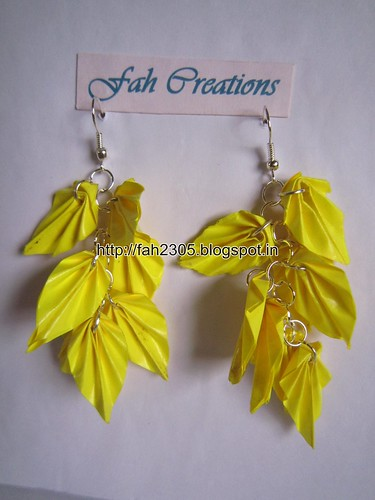 Handmade Jewelry - Origami Paper Leaves Earrings (14) by fah2305