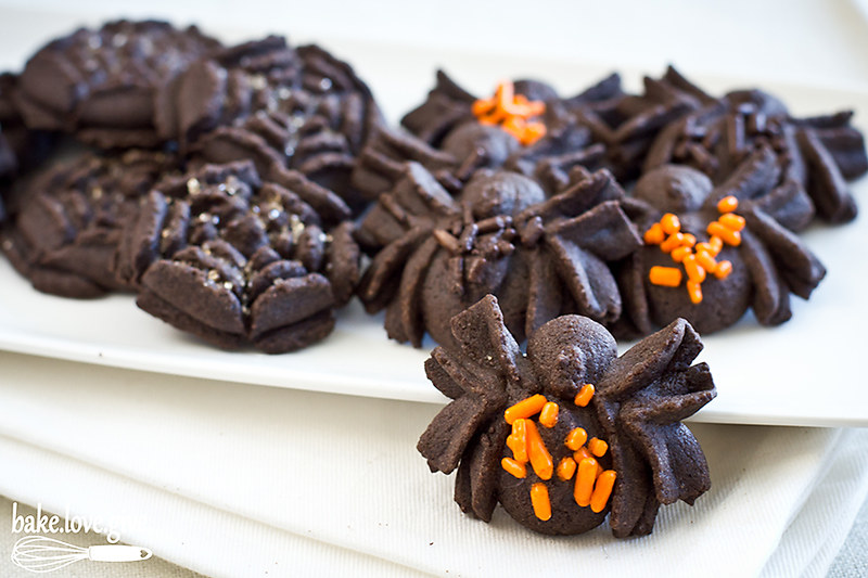 Chocolate Spider Spritz Cookies