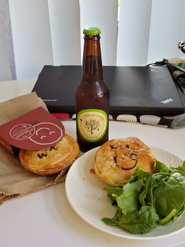 Dinner of Pie Face Pies, Green Salad, Perry