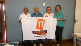 A partir da esquerda, Fábio Pereira, coordenador regional do Solidariedade, o vereador Marcelo Nery, de Porto Ferreira (SP), Sandoval Fernandes, também coordenador regional, e Daniela Braga, pré-candidata a deputada federal