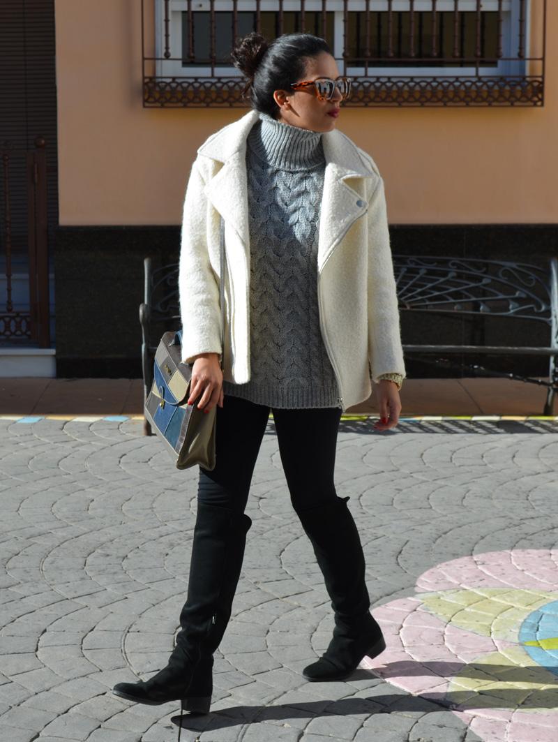 chaqueta blanca fieltro pimkie
