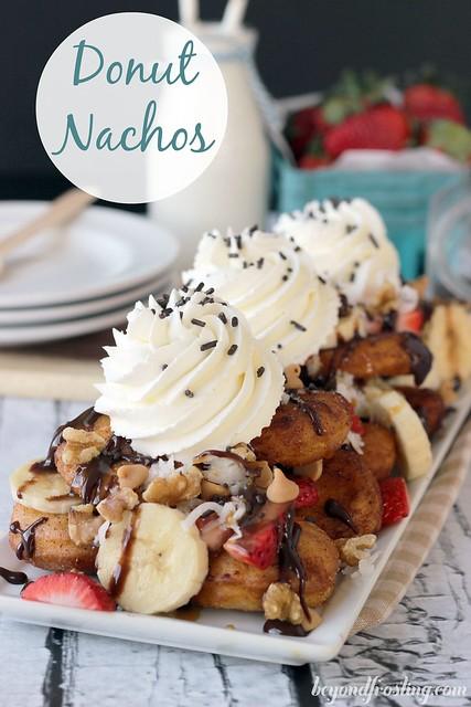 Donut Dessert Nachos | beyondfrosing.com | #donut #nachos