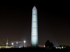 Washington Monument in scaffolding at night, viewed from the west [03]