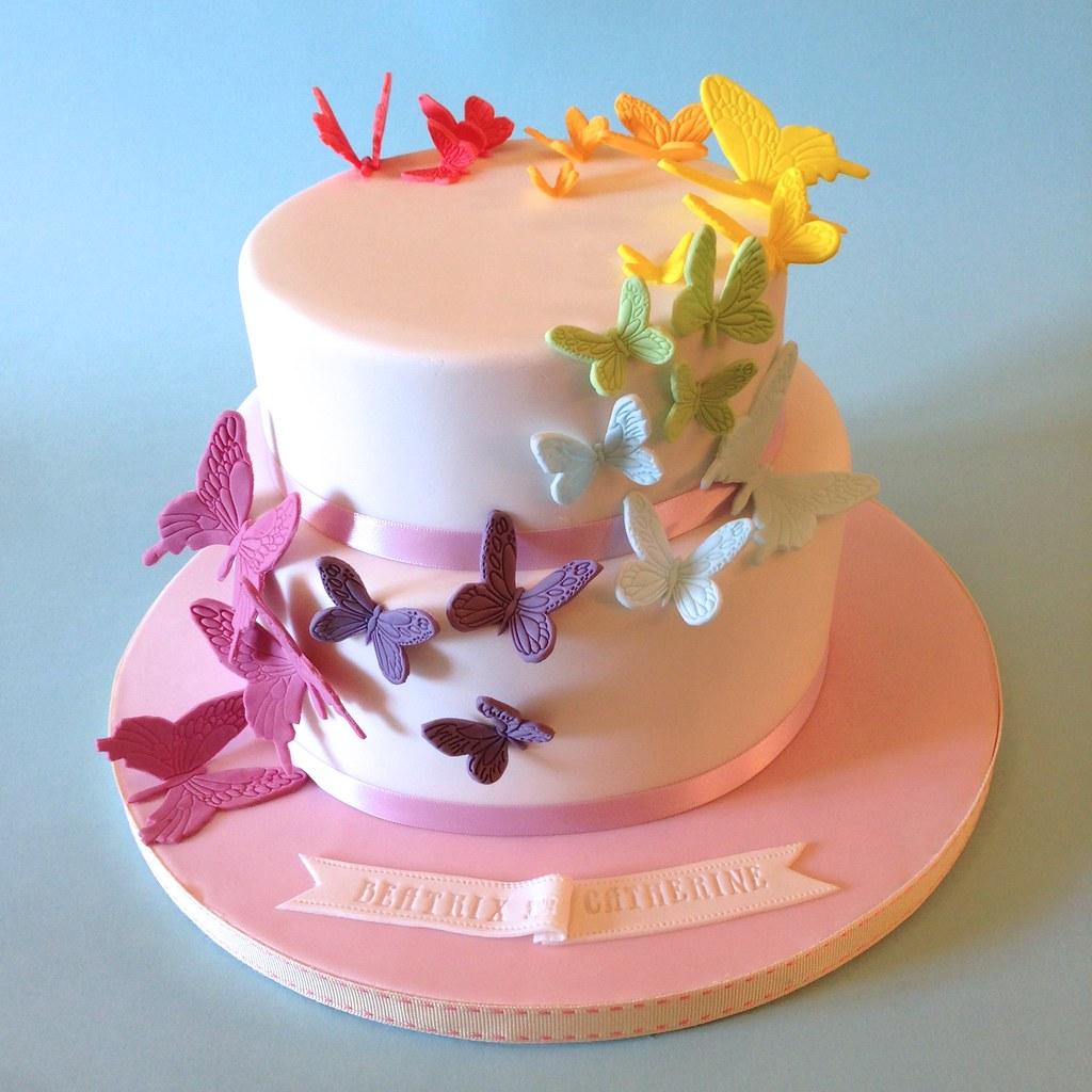 Rainbow Butterflies Birthday Cake
