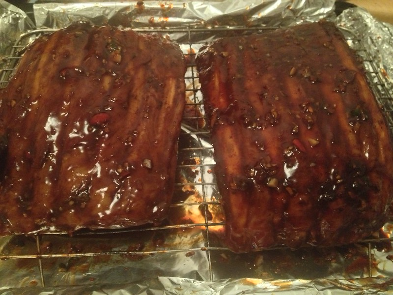 Succulent Sticky Pork : Remove the foil and reapply the marinade