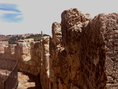 mountain wall ancient mt jerusalem ramparts olives judaen