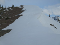 Notice the stress cracks on the cornices? I stayed far below them
