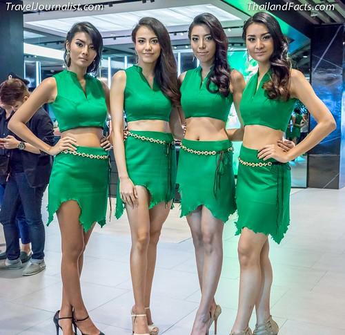 Beautiful Thai Models dressed in green at Siam Center, Bangkok, Thailand