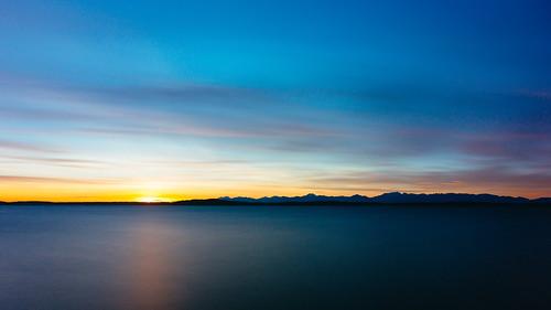 sunset water longexposure pacificnorthwest seattle alki westseattle elliotbay pugetsound sky clouds smooth canoneos5dmarkiii formatthitechfirecrestneutraldensity48x johnwestrock canonef2470mmf28lusm