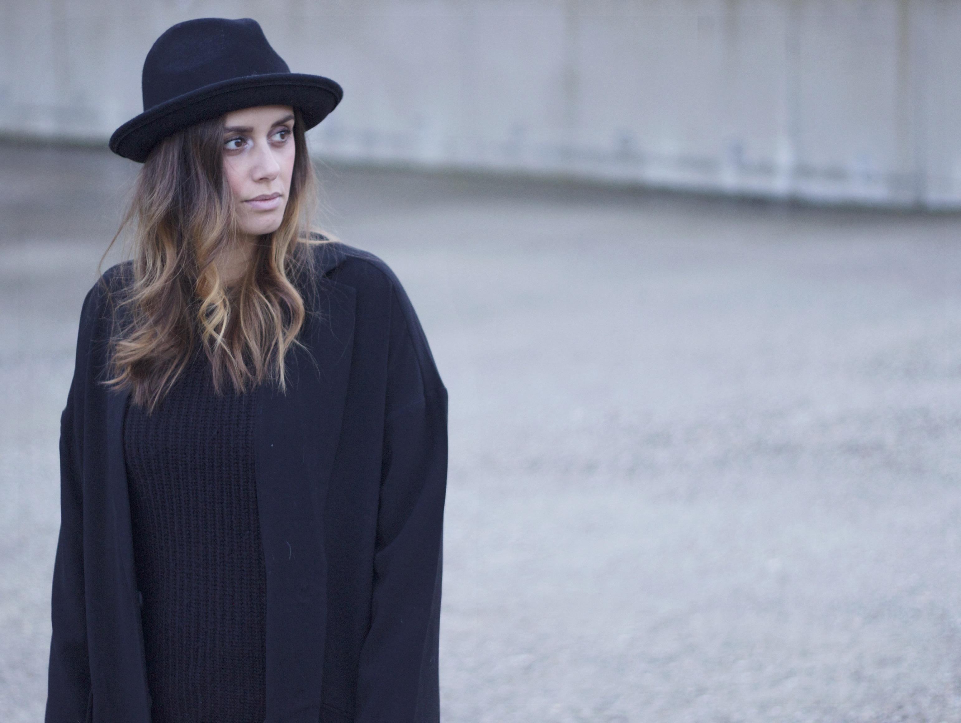 Ombre hair, style, fashion blogger, asos black hat, asos duster coat