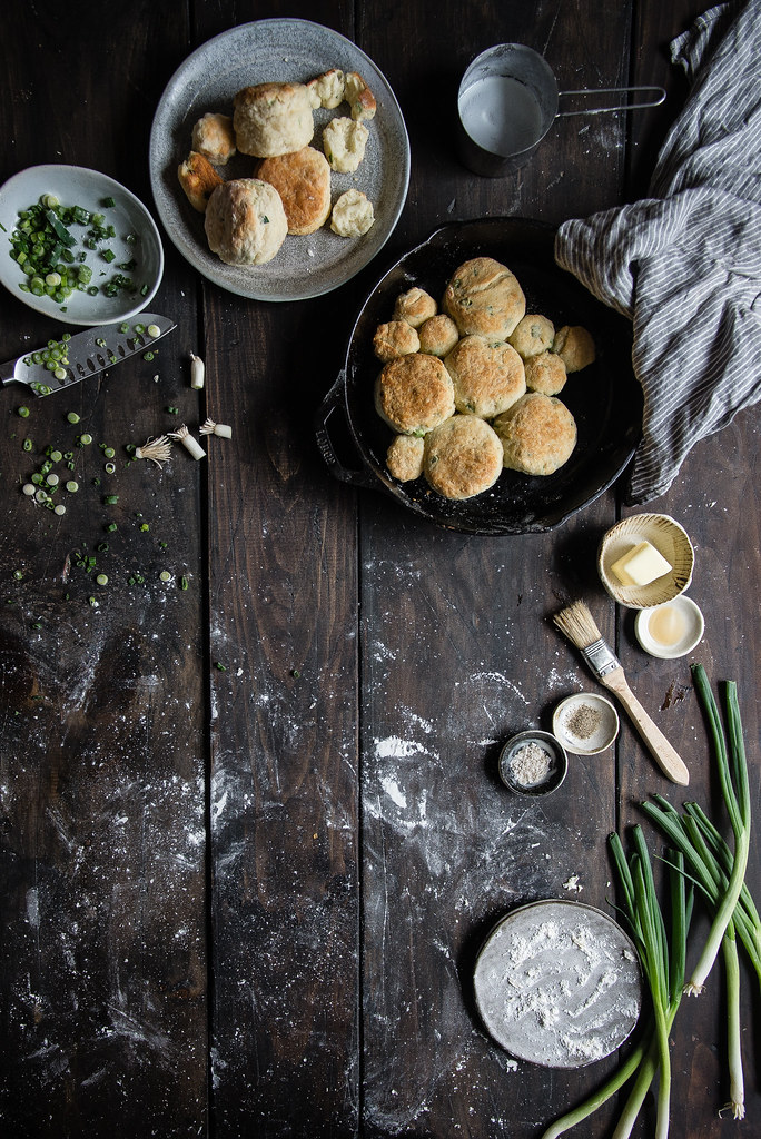 scallion biscuits & lap cheong gravy | two red bowls