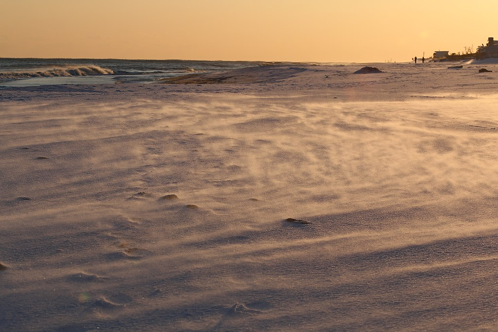 Snow blowing on the beach at Montauk