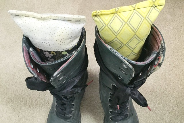 Boot Forms made from fabric scraps and plastic bags.
