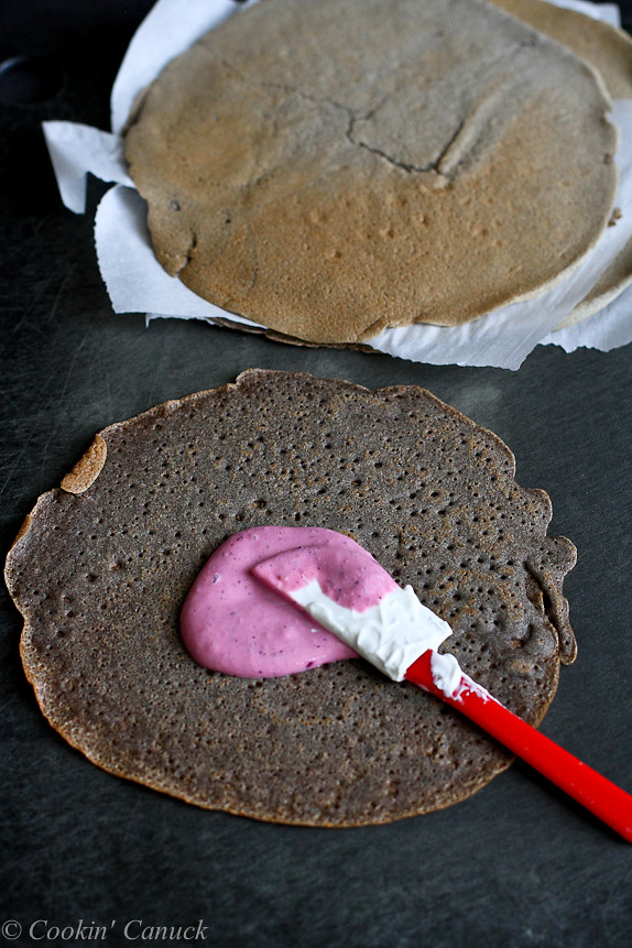 Buckwheat Crepes with Blended Berry Yogurt...Dessert or breakfast! 124 calories and 3 Weight Watchers PP | cookincanuck.com #recipe
