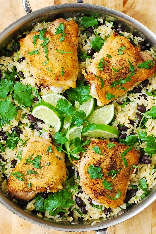 cilantro lime rice, healthy rice recipes, healthy chicken recipes, how to cook chicken thighs, stove top chicken thighs