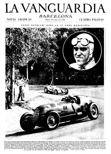 Barcelona, 7 de junio de 1936: Tazio Nuvolari gana la IV Copa Barcelona, fotos: Centelles (superior) y Claret (página). by Octavi Centelles