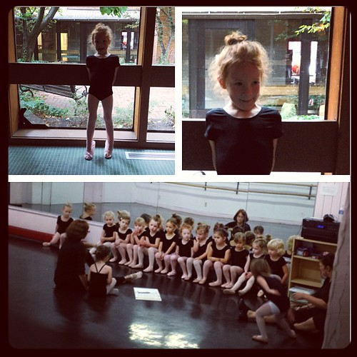 First ballet class of the year. Excited doesn't even begin to describe it. She's been looking forward to today for weeks.  #girlmom #ballet