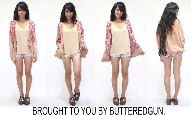 butteredgun CANDY PINK POLKA DOT SWEATER $32 L 24.5