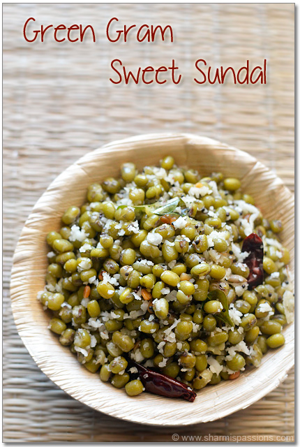 Green Gram Sweet Sundal Recipe