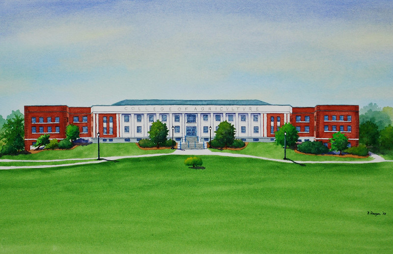 Watercolor painting of the W.B. Young Building by Norm Freyer, class of 1958. Presented to the College in 2013.