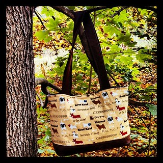 Day 25 #October #yarnpadc Project Bag - one of many, this tote was custom made by an awesome friend #dogs