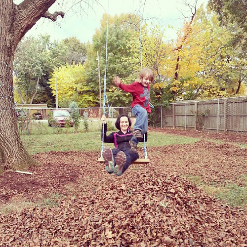 Spantaneous leaf-raking turned into a circus act with mom =)