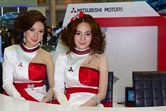 Beautiful, sexy presenters for Mitsubishi Motors at the 30th Thailand International Motor Expo 2013