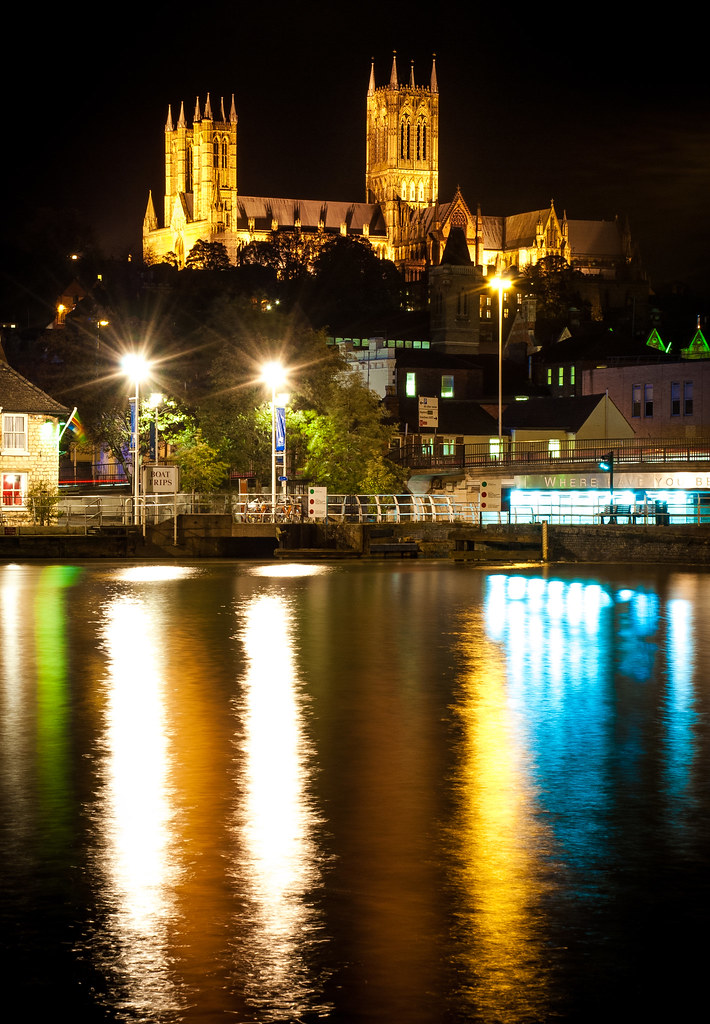 lincoln cathedral, cathedral, lincoln, brayford pool, night, reflections, lincolnshire, brayford