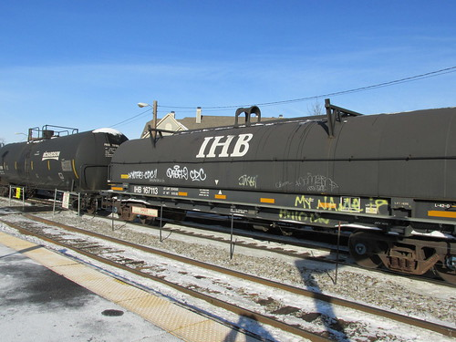 Indiana Harbor Bet Railroad covered coil steel car.  Morton Grove Illinois.  December 12th, 2013. by Eddie from Chicago