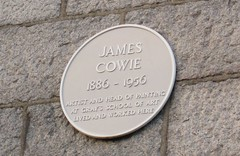 Photo of James Cowie yellow plaque