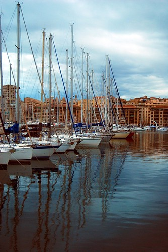 Line of boats in the port