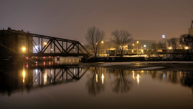 Winter night at the confluence of the Menomonee and Milwaukee Rivers