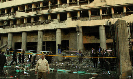 The Egyptian Security Directorate building damaged in Cairo on January 24, 2014. A series of blasts rocked the area. by Pan-African News Wire File Photos