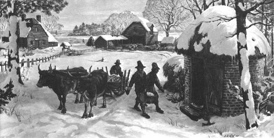 Jamestown in snow