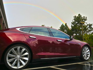 Tesla brings the rainbows — seen this morning at work