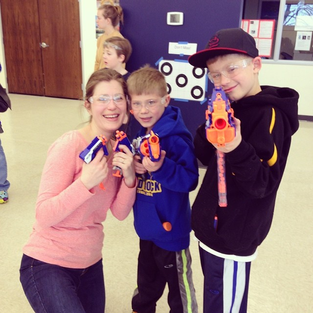 SUPER fun morning at the Mom/Son Nerf Fun event at school! Thanks to amazing people who made it possible!