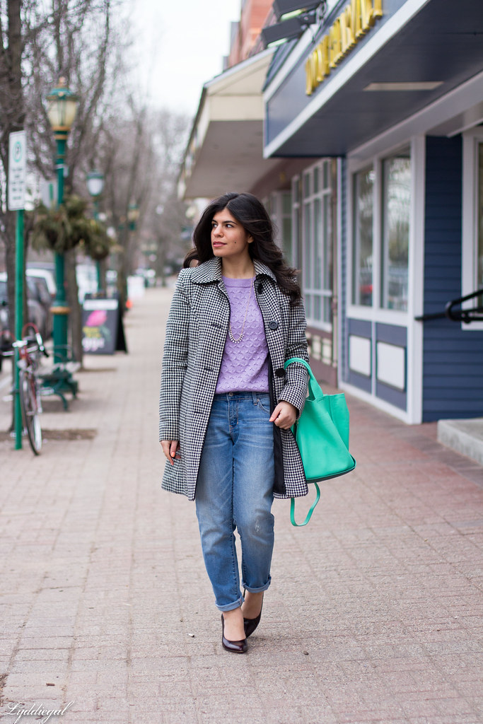 lavender sweater, boyfriend jeans, mint bag.jpg