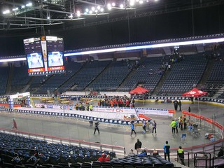 Copps Colosseum and a small crowd of people.
