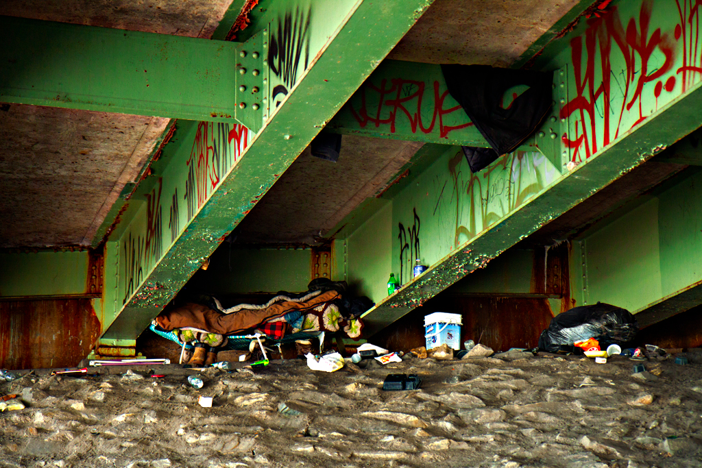 Living-arrangement-under-bridge-on-4-9-14--Feltonville
