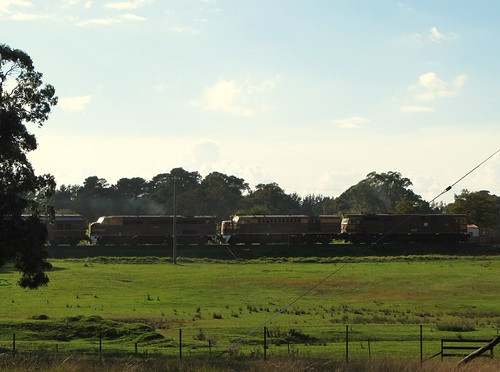 2/3 locos help pull the St James Rail tour train into Borenore, NSW