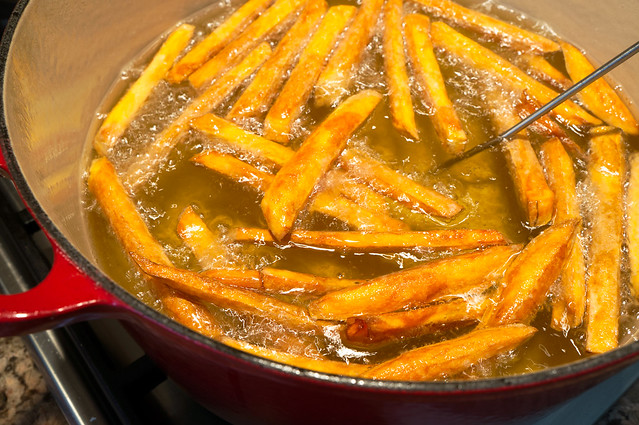 sweet potato fries in oil