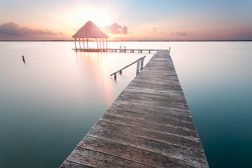 sunrise mexico soft long exposure pastel jetty tequila geoffrey gilson waterscape bacalar