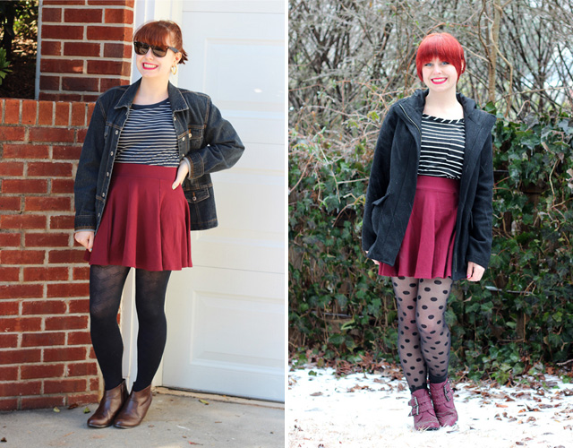 Remixing a Flippy Skirt with Stripes and Polka Dots