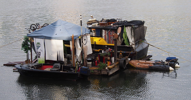 Cobbled Together Houseboat: Some otherwise homeless people cobbled this together.  While I see some Seahawks stuff on it, I had never seen this back home in Seattle.