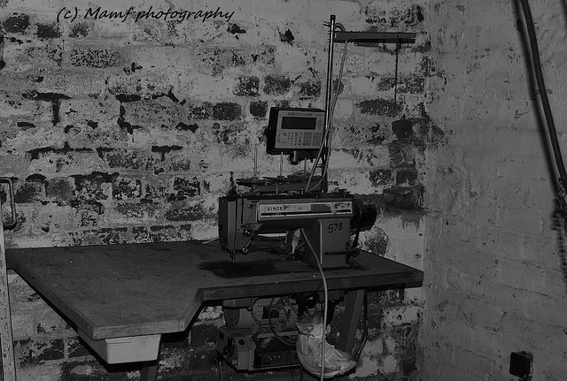 A Singer sewing machine at the factory where I first started working for my dad in 1986.