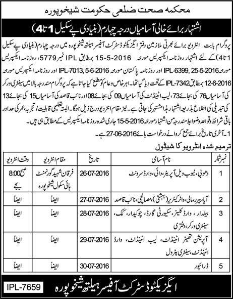 District Government Sheikhupura Basic Scale Jobs