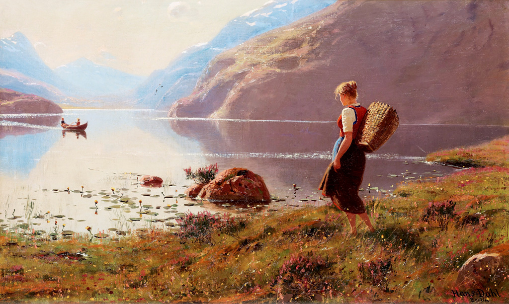 A young girl in a fjord landscape by Hans Dahl