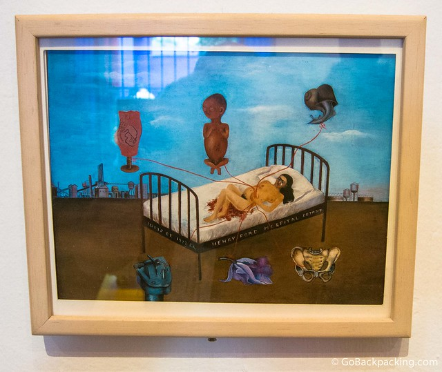 Self portrait of Frida Kahlo experiencing a miscarriage