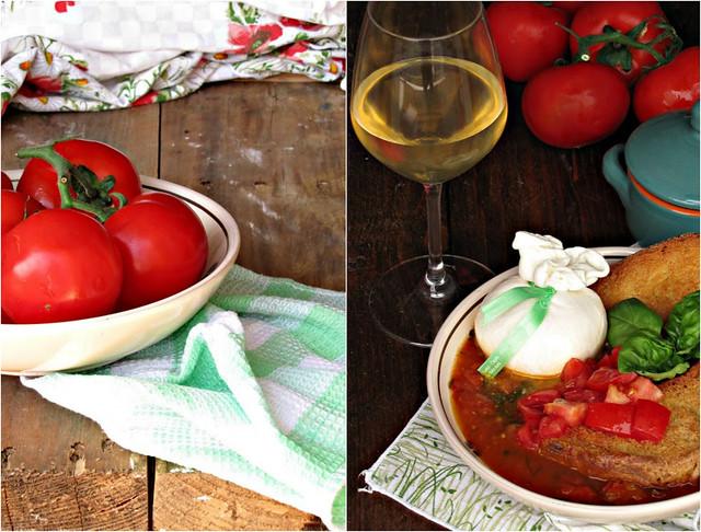 Freselle su Consommée di Doppio Pomodoro e Burratina alle Acciughe Piccanti