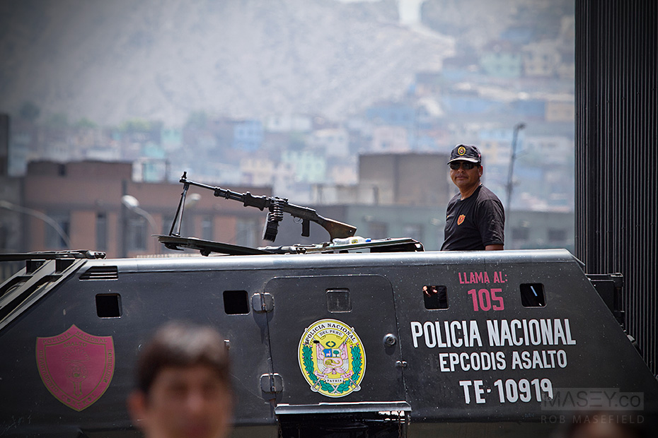 Apparently armoured vehicles are required to patrol the central city area of Lima.